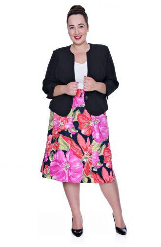 Letnia bawełniana czerwono-różowa spódnica kwiaty