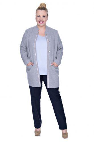 Granatowe elastyczne spodnie z ozdobnymi zamkami