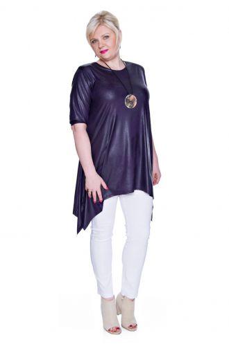 Modna skórkowa fioletowa długa tunika
