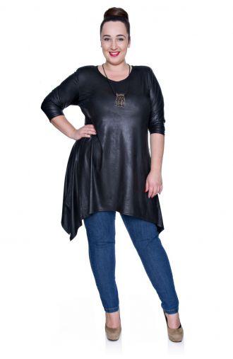 Modna skórkowa czarna długa tunika