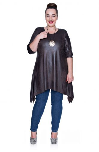 Modna skórkowa brązowa tunika