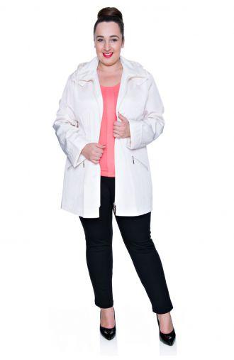 Kremowa cienka przeciwdeszczowa kurtka z kapturem