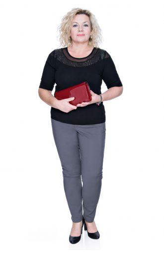 Czarna Bluzka Wizytowa Rękaw krótki