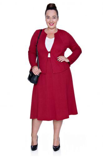 Dzianinowa czerwona spódnica z cięciami