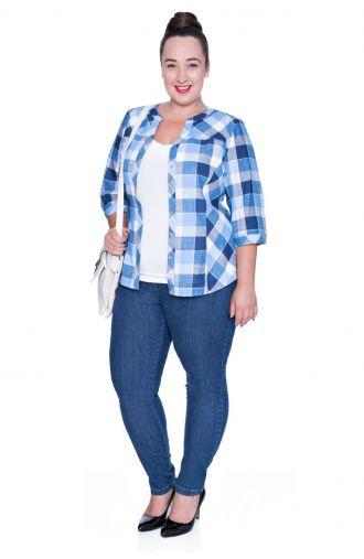 Bluzka koszulowa w niebieską kratę