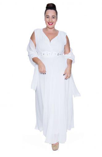 Długa biała szyfonowa sukienka z szalem