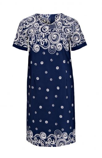 Granatowa sukienka beżowe koła