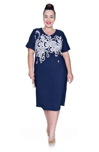 Granatowa sukienka beżowy wzór