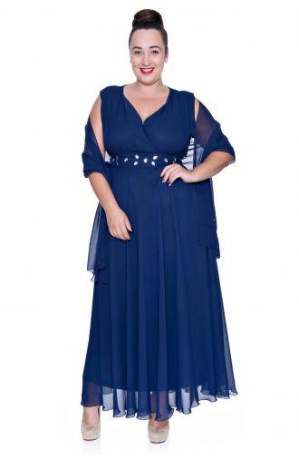 Długa granatowa szyfonowa sukienka z szalem
