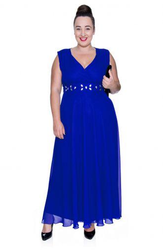 Długa kobaltowa szyfonowa sukienka z szalem