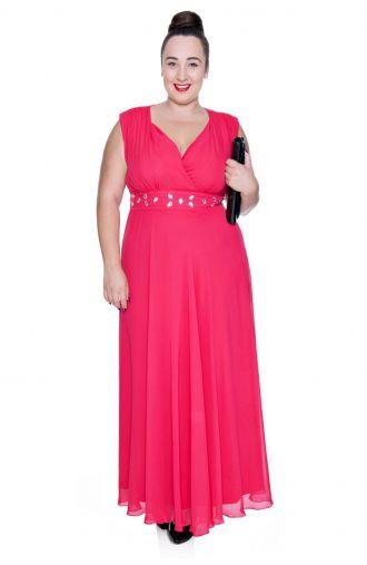 Długa malinowa szyfonowa sukienka z szalem