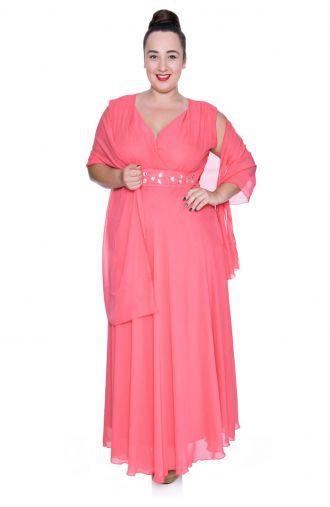 Długa różowa szyfonowa sukienka z szalem