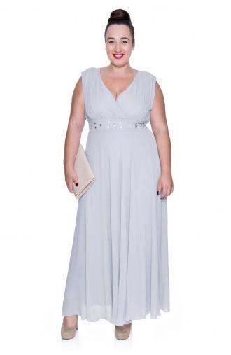 Długa szara szyfonowa sukienka z szalem