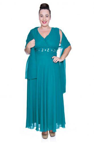 Długa turkusowa szyfonowa sukienka z szalem