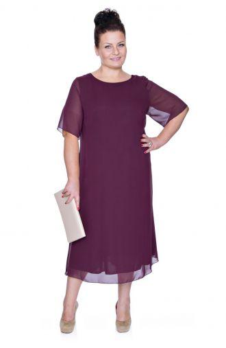 Zwiewna śliwkowa sukienka