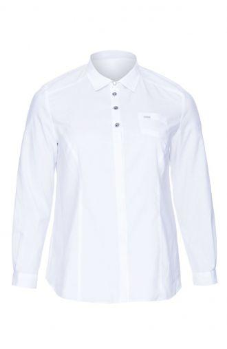 Biała bluzka koszulowa czarne guziki