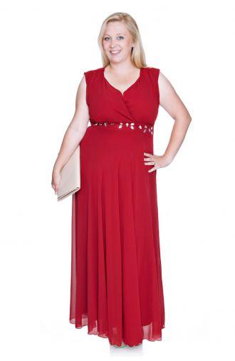 Długa ciemnoczerwona szyfonowa sukienka z szalem