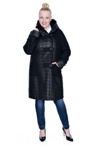 Czarny wełniany płaszczyk z kapturem