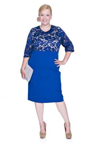 Kobaltowa sukienka z koronką