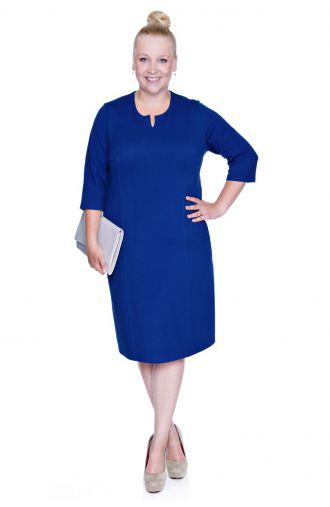 Elegancka kobaltowa sukienka z cięciami