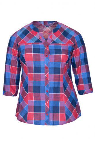 Bawełniana bluzka koszulowa kolorowa krata