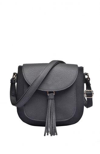 Czarna torebka z frędzelkiem