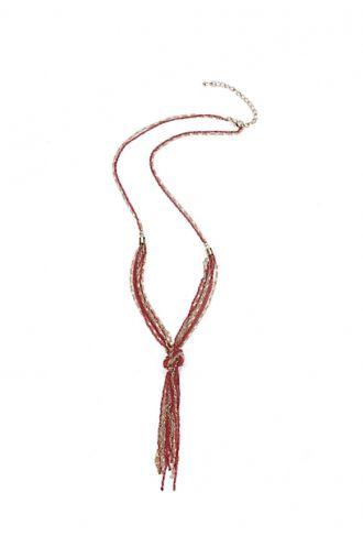 Złoto-czerwony naszyjnik węzeł
