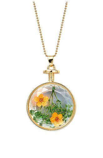 Złoty wisior kwiaty we szkle