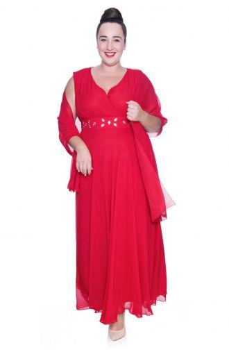 Długa czerwona szyfonowa sukienka z szalem