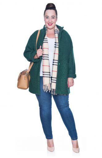 Zielony płaszcz z melanżowej wełny
