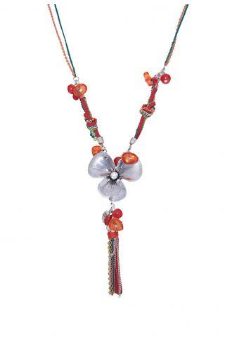 Długi czerwony naszyjnik metalowy kwiat