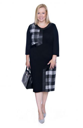 Czarna sukienka wstawki szaro-czarna krata