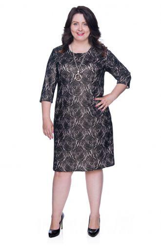 Czarna sukienka w róże z beżowym podszyciem