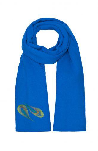 Niebieski długi wełniany szal