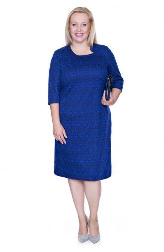 Elegancka kobaltowa sukienka ze srebrną nitką