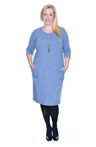 Jasnoniebieska elastyczna sukienka z kieszonkami