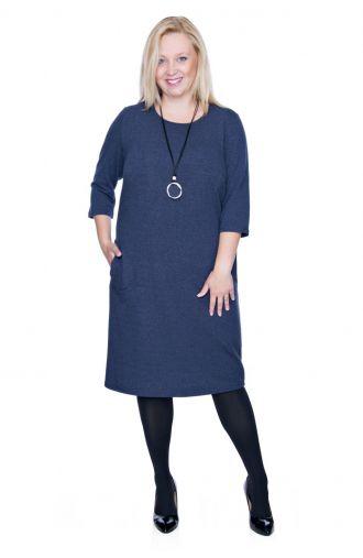 Ciemnoniebieska elastyczna sukienka z kieszonkami