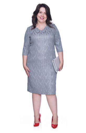 Wzorzysta szara sukienka ze srebrną nitką