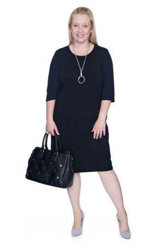 Czarna elastyczna sukienka z kieszonkami