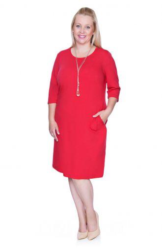 Czerwona elastyczna sukienka z kieszonkami