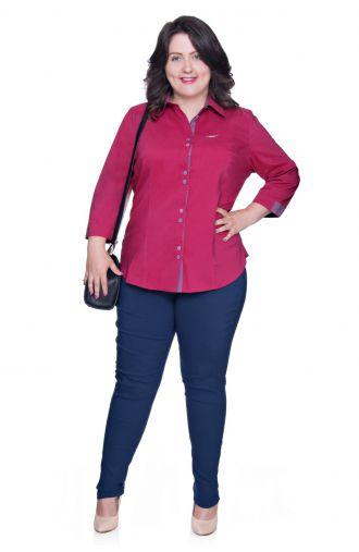 Malinowa bluzka koszulowa