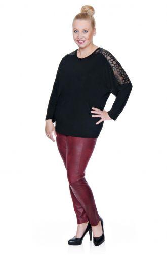 Elastyczna czarna bluzka ażurowe wstawki