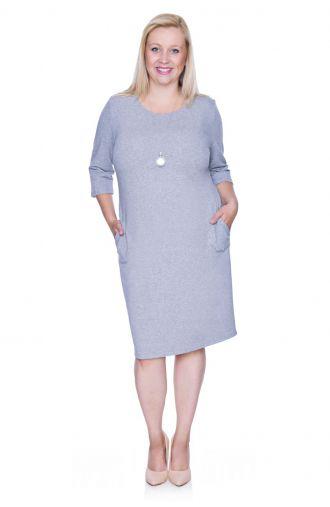 Szara elastyczna sukienka z kieszonkami