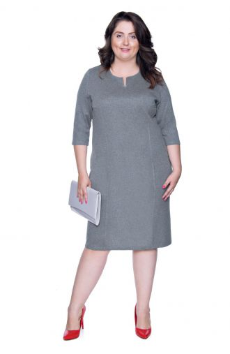 Elegancka szara sukienka z cięciami