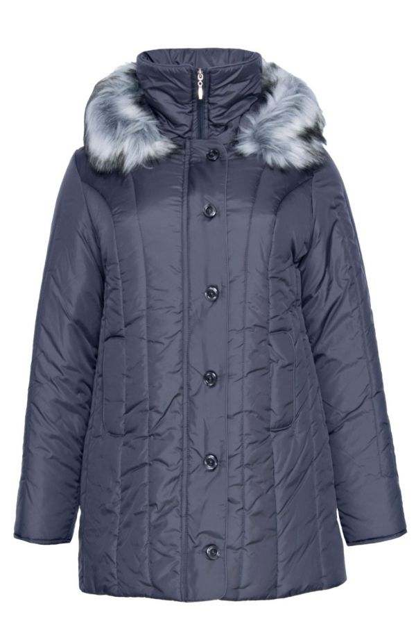Ciepła zimowa kurtka w szarym kolorze