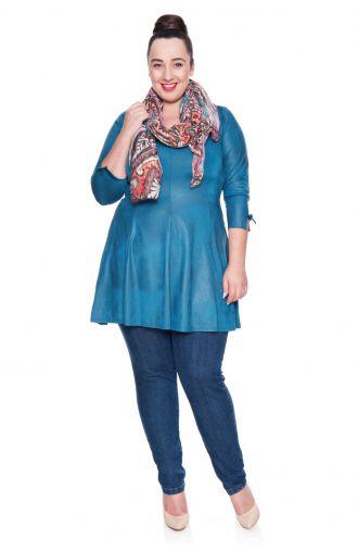 Skórkowa tunika w kolorze turkusowym z kokardkami