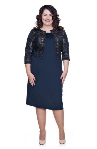 Granatowa elegancka sukienka z imitacją żakietu