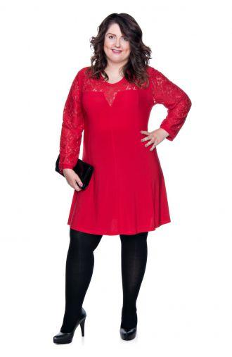 Koronkowa czerwona tunika z długim rękawem