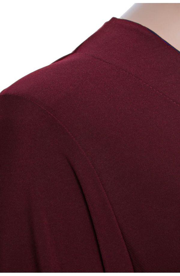 Wiśniowa tunika z kieszonkami długi rękaw