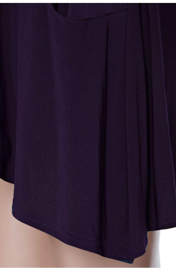 Fioletowa tunika z kieszonkami długi rękaw